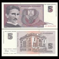YOUGOSLAVIE - Billet de 5 Novih Dinara - Nikola Tesla - 1994