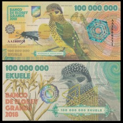 ELOBEY GRANDE - Billet de 100000000 Ekuele - Oiseau Jardinier de l'Arfak - 2018