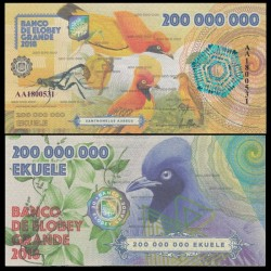 ELOBEY GRANDE - Billet de 200000000 Ekuele - Oiseaux dorés du Paradis - 2018