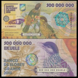 ELOBEY GRANDE - Billet de 500000000 Ekuele - Jardinier à joues blanches - 2018