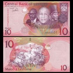 LESOTHO - Billet de 10 Maloti - Rois Letsie III, Moshoeshoe I et Moshoeshoe II - 2010