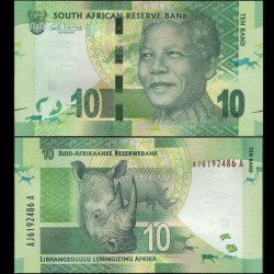 AFRIQUE DU SUD - Billet de 10 Rand - Rhinoceros - 2012