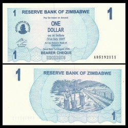ZIMBABWE - Billet de 1 Dollar - Bearer cheque - 01.08.2006