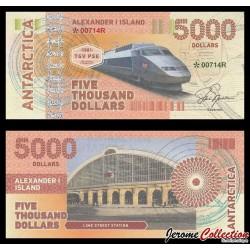 ILE ALEXANDRE Ier - Billet de 5000 DOLLARS - Locomotive TGV - 2017