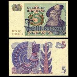 SUEDE - Billet de 5 Couronnes - Roi Gustav Vasa - 1977 P51d1
