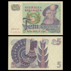SUEDE - Billet de 5 Couronnes - Roi Gustav Vasa - 1978