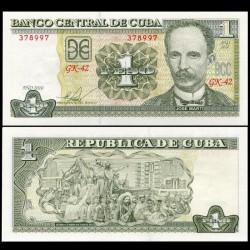 CUBA - Billet de 1 Peso - José Martí - 2010 P128e