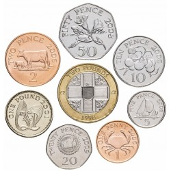 GUERNESEY - SET / LOT de 8 PIECES - 1 2 5 10 20 50 Pence 1 2 Pounds - 1992 1998 2001 2008 2009 2012 Km#43.2 83 89 90 96 97