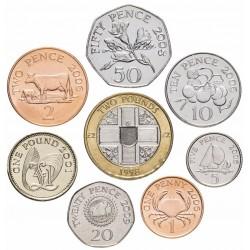 GUERNESEY - SET / LOT de 8 PIECES - 1 2 5 10 20 50 Pence 1 2 Pounds - 1992 1998 2001 2008 2009 2012 Km#43.2 83 89 90 96 97