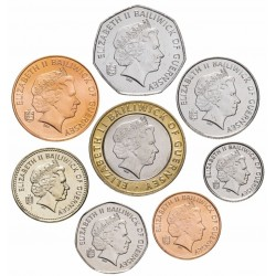 GUERNESEY - SET / LOT de 8 PIECES - 1 2 5 10 20 50 Pence 1 2 Pounds - 1992 1998 2001 2008 2009 2012
