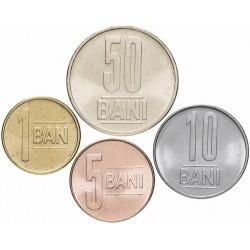 ROUMANIE - SET / LOT de 4 PIECES - 1 5 10 50 BANI - Nouvel Emblème - 2018 Km#new