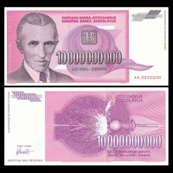 YOUGOSLAVIE - Billet de 10000000000 Dinara - Nikola Tesla - 1993