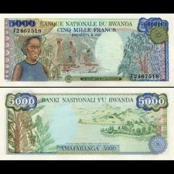 RWANDA - Billet de 5000 Francs - Lac Kivu - 1988