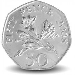 GUERNESEY (île de) - PIECE de 50 Pence - Fleur Freesia de Guernesey - 2008 Km#156