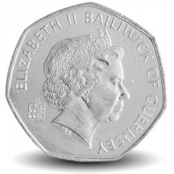 GUERNESEY (île de) - PIECE de 50 Pence - Fleur Freesia de Guernesey - 2008