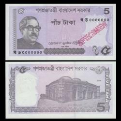 BANGLADESH - Billet de 5 Taka - SPECIMEN - 2018