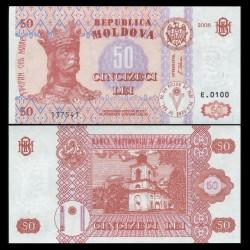MOLDAVIE - Billet de 50 LeI - Le monastère de Hirbovat - 2008 P14e