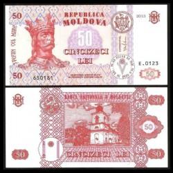 MOLDAVIE - Billet de 50 LeI - Le monastère de Hirbovat - 2013