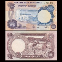 NIGERIA - Billet de 50 Kobo - Scieurs de bois - 1973 / 1978 P14g