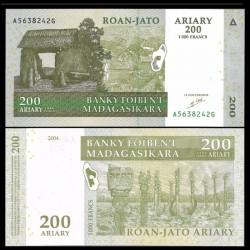 MADAGASCAR - Billet de 200 Ariary / 1000 Francs - 2004 P87a