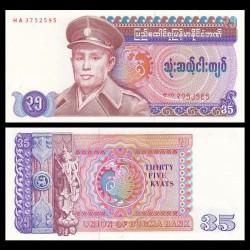 MYANMAR (ex-Birmanie) - Billet de 35 Kyats - Général Aung San - 1986