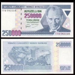 TURQUIE - Billet de 250000 Livre turque - La tour rouge d'Antalya - 1998 P211a