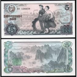 COREE DU NORD - Billet de 5 Won - Montagnes de Kumgang - 1978