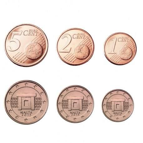 MALTE - SET / LOT de PIECES de 1 2 5 Cents d'Euro - Temples Mnajdra - 2015 Km#125 126 127