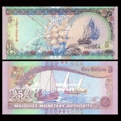 MALDIVES - Billet de 5 Rufiyaa - Bateaux - 2011