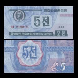 COREE DU NORD - Billet de 5 CHON - 1988