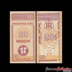 MONGOLIE - Billet de 20 Möngö - 1993