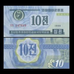 COREE DU NORD - Billet de 10 CHON - 1988