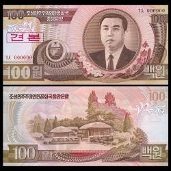 COREE DU NORD - Billet de 100 Won - Kim Il Sung - SPECIMEN - 1992