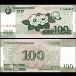 COREE DU NORD - Billet de 100 Won - Magnolia de Siebold - 2008