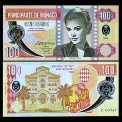 MONACO - Billet de 100 Francs - Princesse Grace Kelly - POLYMER - 2019 00100 - Série C - Gabris