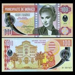 MONACO - Billet de 100 Francs - Princesse Grace Kelly - POLYMER - 2019 00100 - Série H - Gabris