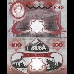 ARUBA - Billet de 100 SHILLINGS - Reine Elisabeth II - 2018