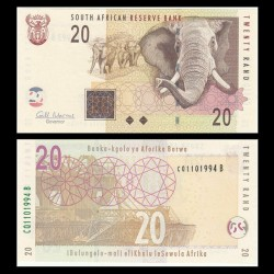 AFRIQUE DU SUD - Billet de 20 Rand - Elephants - 2009