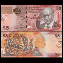 BAHAMAS - Billet de 5 Dollars - Sir Cecil Wallace-Whitfield - 2013 P72Aa