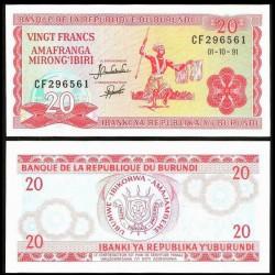 BURUNDI - Billet de 20 Francs - 1.10.1991