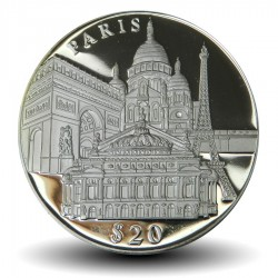 LIBERIA - PIECE de 20 Dollars - Monuments de Paris - 2000 Km#NEW