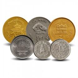 NEPAL - SET / LOT de 6 Pièces de 10 25 50 Paisa 2 5 10 Roupies - 1971 / 2004 Km#815 1014 1075 1118 1151 1179