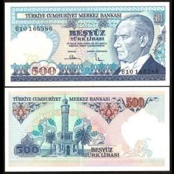 TURQUIE - Billet de 500 Lire turque - Tour de l'horloge, Izmir