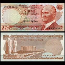TURQUIE - Billet de 20 Lire turque - Mausolée d'Atatürk, Ankara - 1974