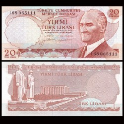 TURQUIE - Billet de 20 Lire turque - Mausolée d'Atatürk, Ankara - 1983 P187b
