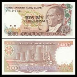 TURQUIE - Billet de 5000 Lire turque - Centrale thermique, Afşin - 1990