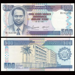 BURUNDI - Billet de 500 Francs - Président Melchior Ndadaye - 5.2.1995