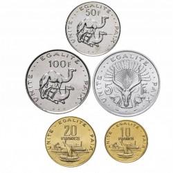 DJIBOUTI - SET / LOT de 5 PIÈCES - 5 10 20 50 100 Francs - 1991 2007 2010 2013