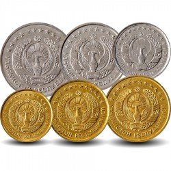 OUZBEKISTAN - SET / LOT de 6 PIECES de 1 3 5 10 20 50 Tiyin - 1994
