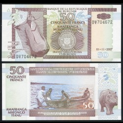 BURUNDI - Billet de 50 Francs - Hippopotame - 1.11.2007 P36g